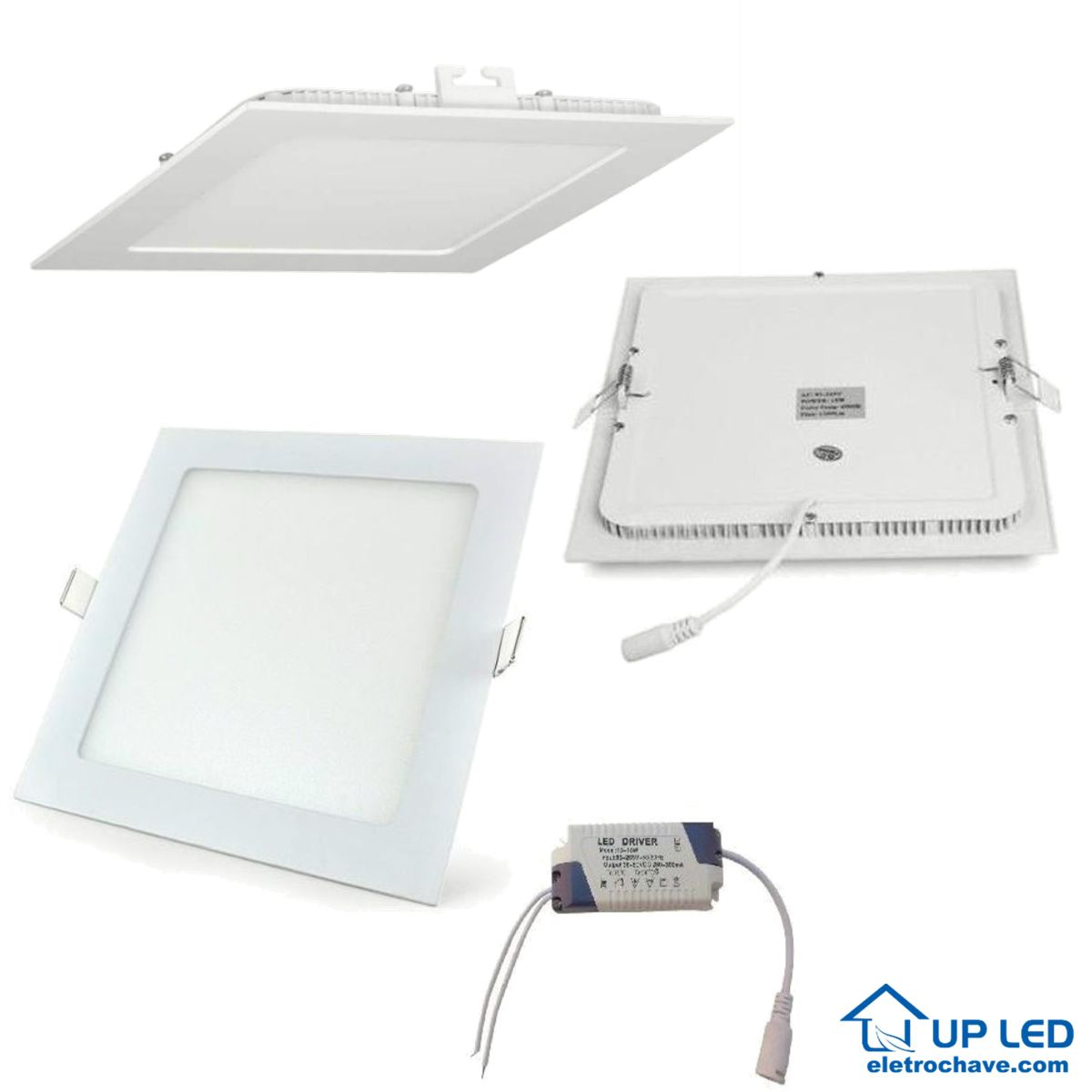KIT 5 LUM EMB LED QUADRADA 15W 6000K BIVOLT UPLED