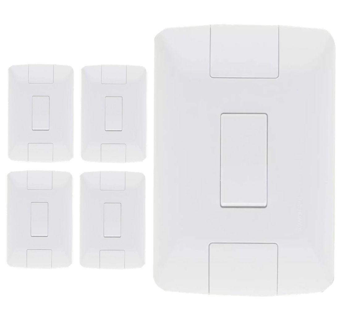 Kit 5 Placas Interruptor 6A + 10 Placas Tomada 10A Aria Tramontina