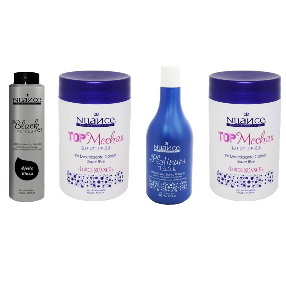 KIT BLACK PLATINUM + PLATINUM MASK + 2 PÓS DESCOLORANTES NUANCE