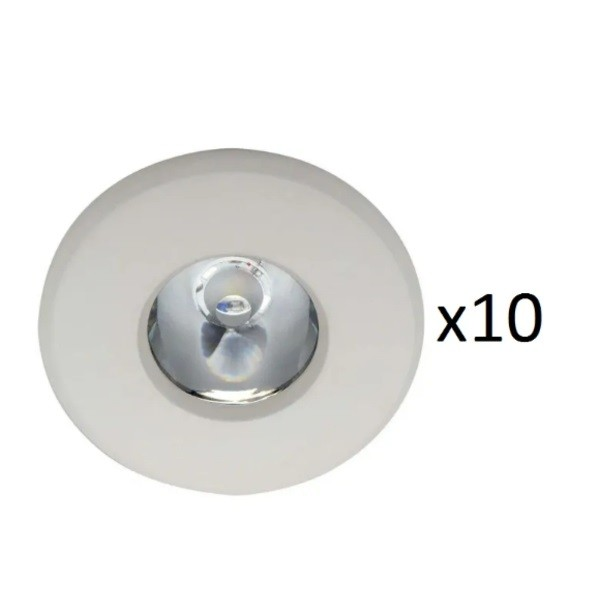 Kit com 10 Luminárias de Embutir Redonda Amarela Led Waterproof LLUM - 3W