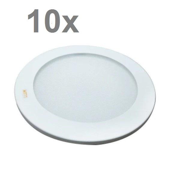 Kit com 10 Luminárias Led de Embutir Amarela Redonda LLUM - 10W 127V