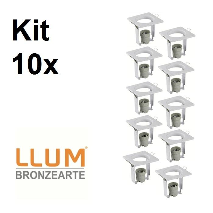 Kit com 10 peças Embutido fixo 95X95mm E27  105w Bivolt P/R63 Br llum