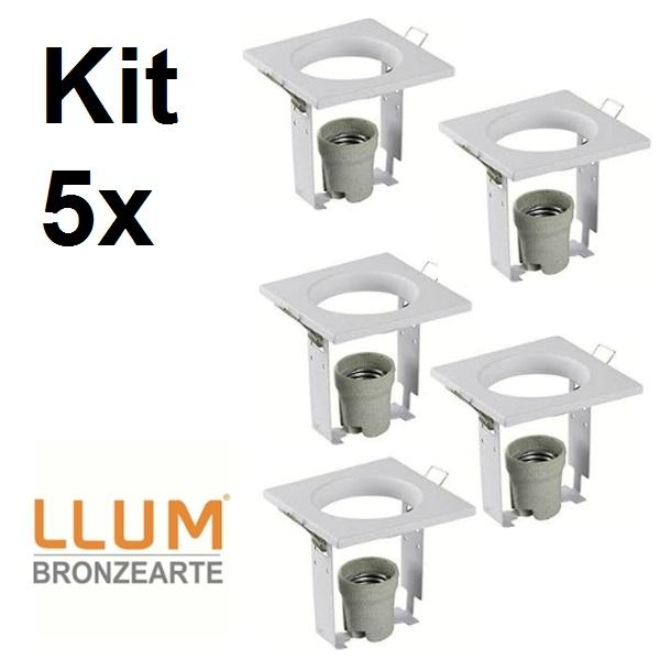 Kit com 5 Peças Embutido fixo 95X95mm E27  105w Bivolt P/R63 Br llum