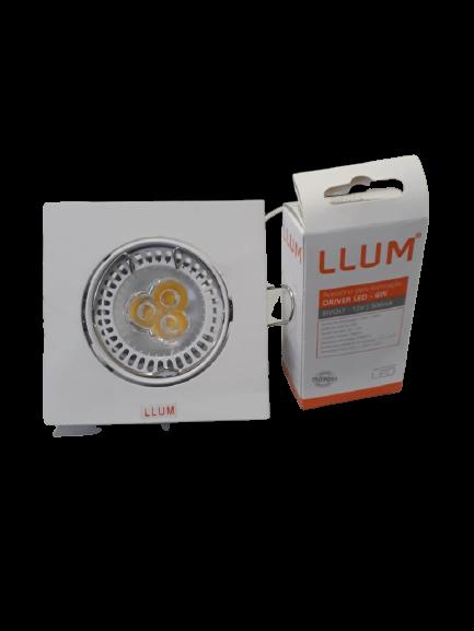 KIT EMBUTIDO QUADRADO LAMPADA LED GU5.3 7W 3000K LLUM