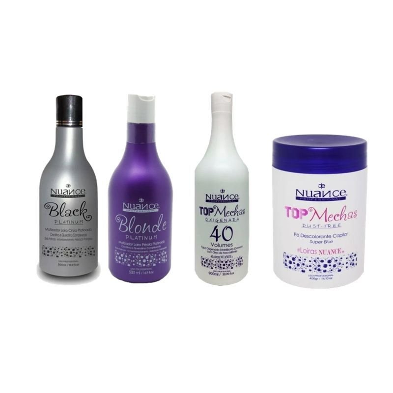 KIT MATIZADOR BLACK PLATINUM + BLONDE PLATINUM + PÓ DESCOLORANTE + OX 40 NUANCE
