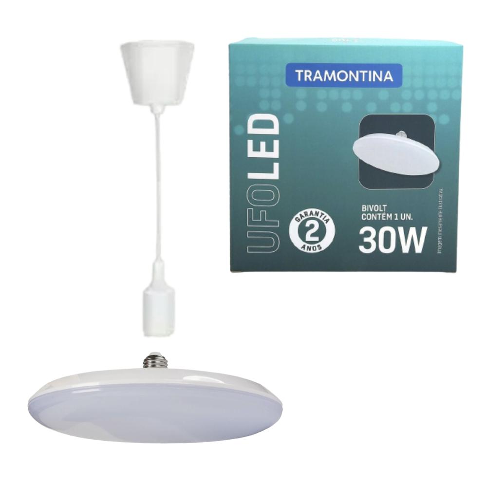 Kit Pendente Silicone 1m + Luminaria LED UFO 30W Branco Frio Tramontina