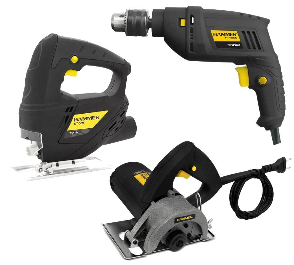 Kit Serra Marmore 1100w + Serra Tico Tico 500w + Furadeira 550w Hammer 127V