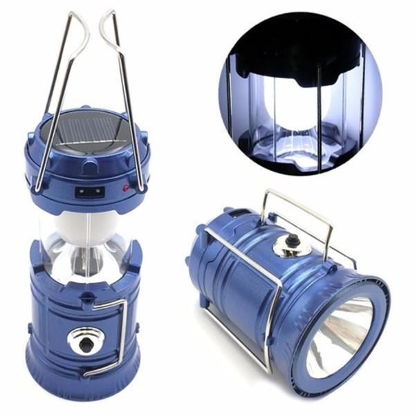 Lampião Solar e Lanterna 6 LED's Azul