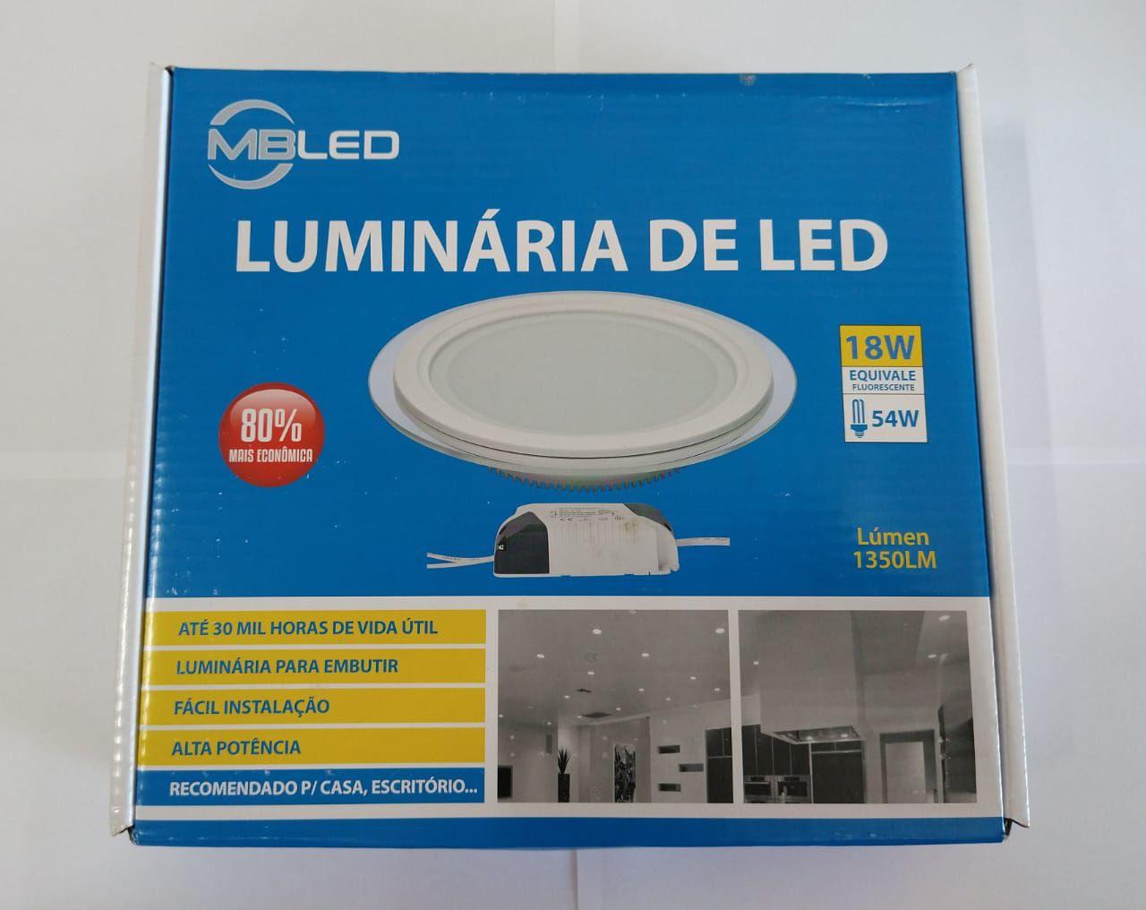 Luminaria Embutir Redonda Vidro 18W LED 3200K Morna MBtech