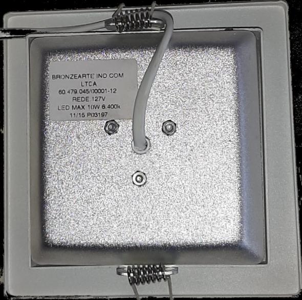Luminária de imbutir Quadrada 10W Luz Branca Econômica 127V LLUM