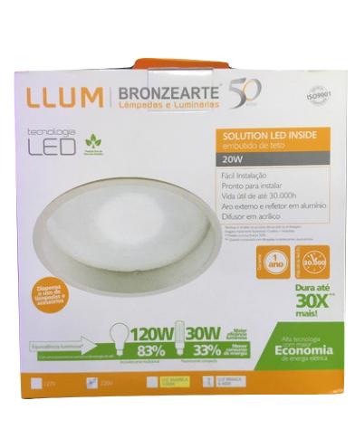 Luminária Led de Embutir Branca Solution Led Inside LLUM - 127V 20W