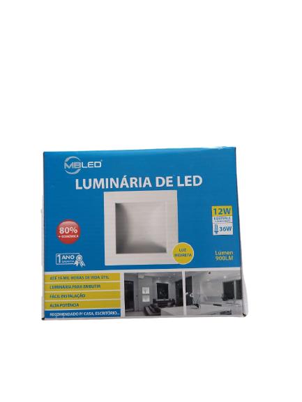 Luminária Led Quadrada de Embutir Luz Indireta Branca MBLED - 12W