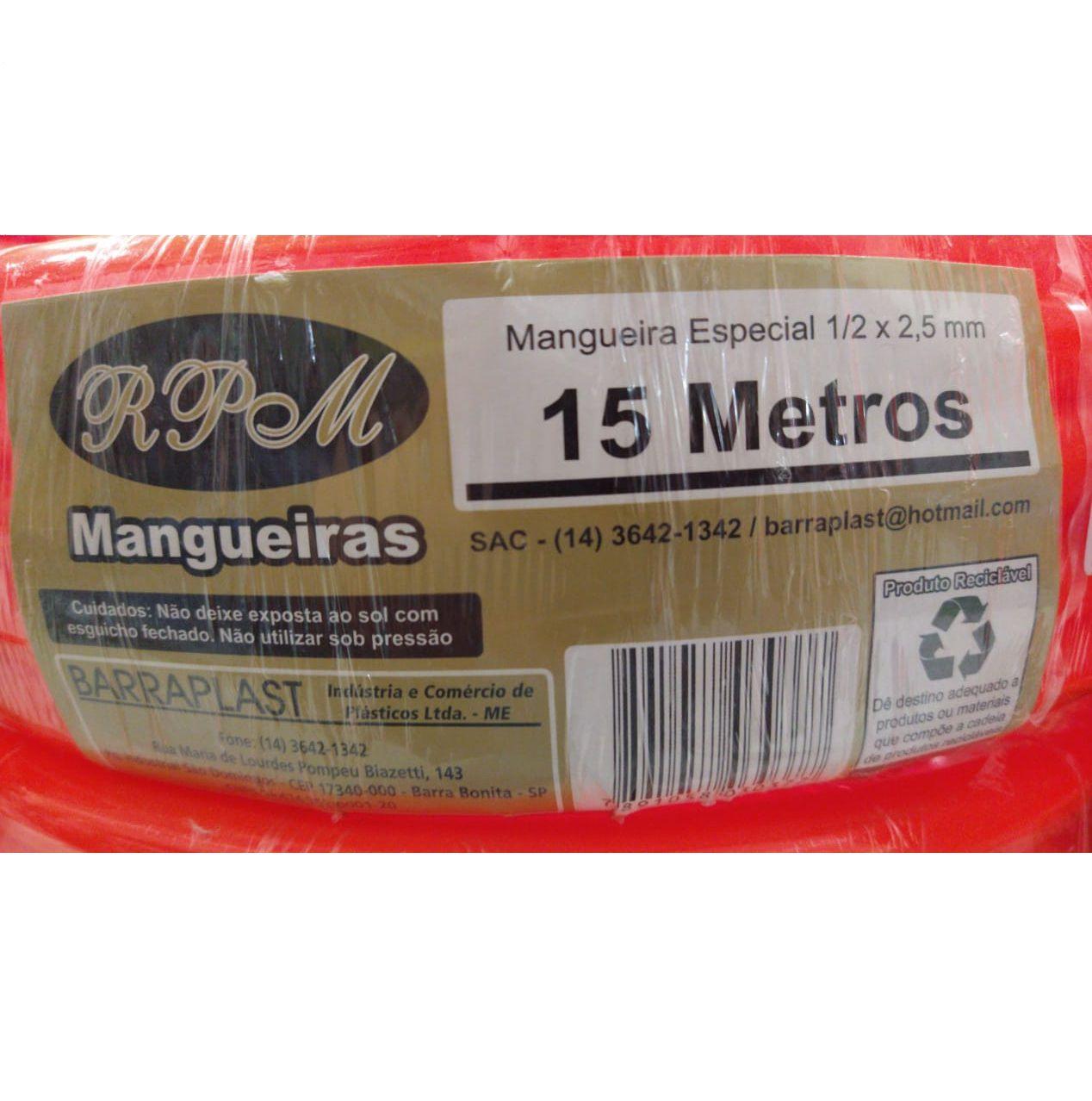 MANGUEIRA SILICONE LARANJA 15METR 1/2X2,5MM
