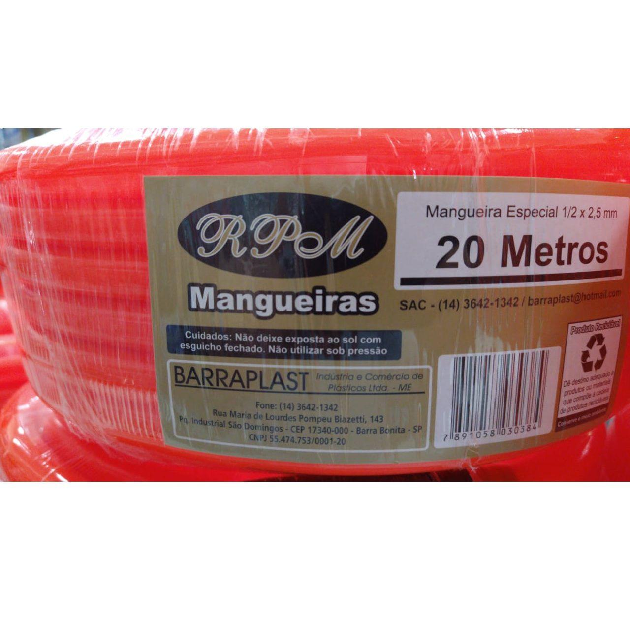 MANGUEIRA SILICONE LARANJA 20METR 1/2X2,5MM