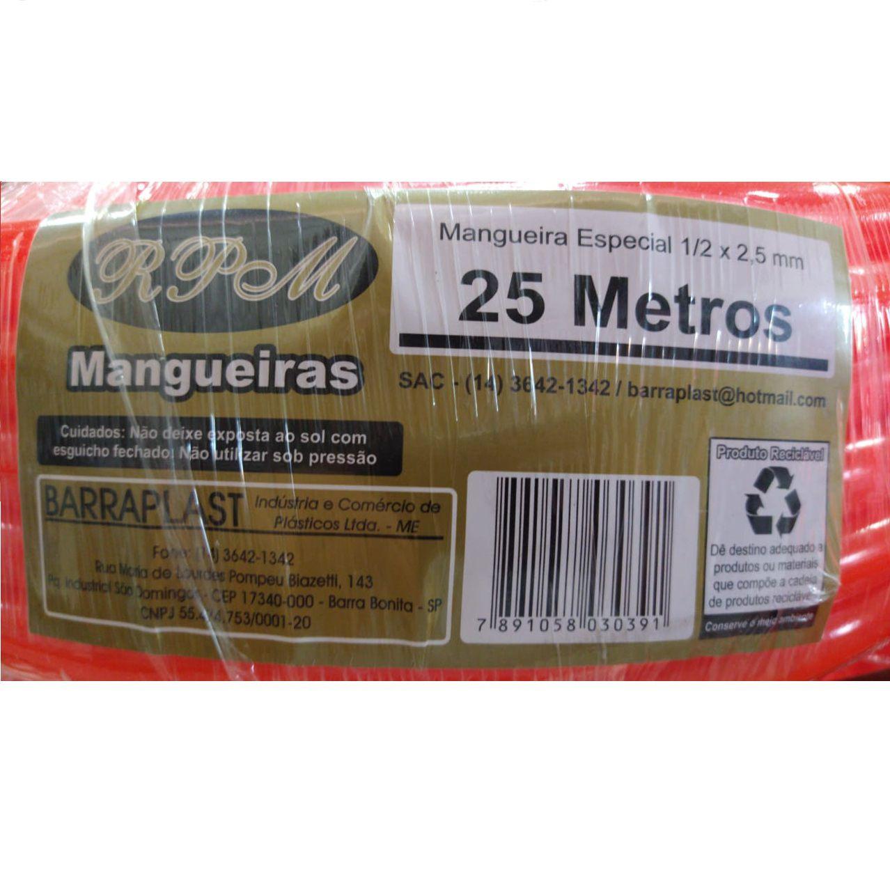 MANGUEIRA SILICONE LARANJA 25METR 1/2X2,5MM