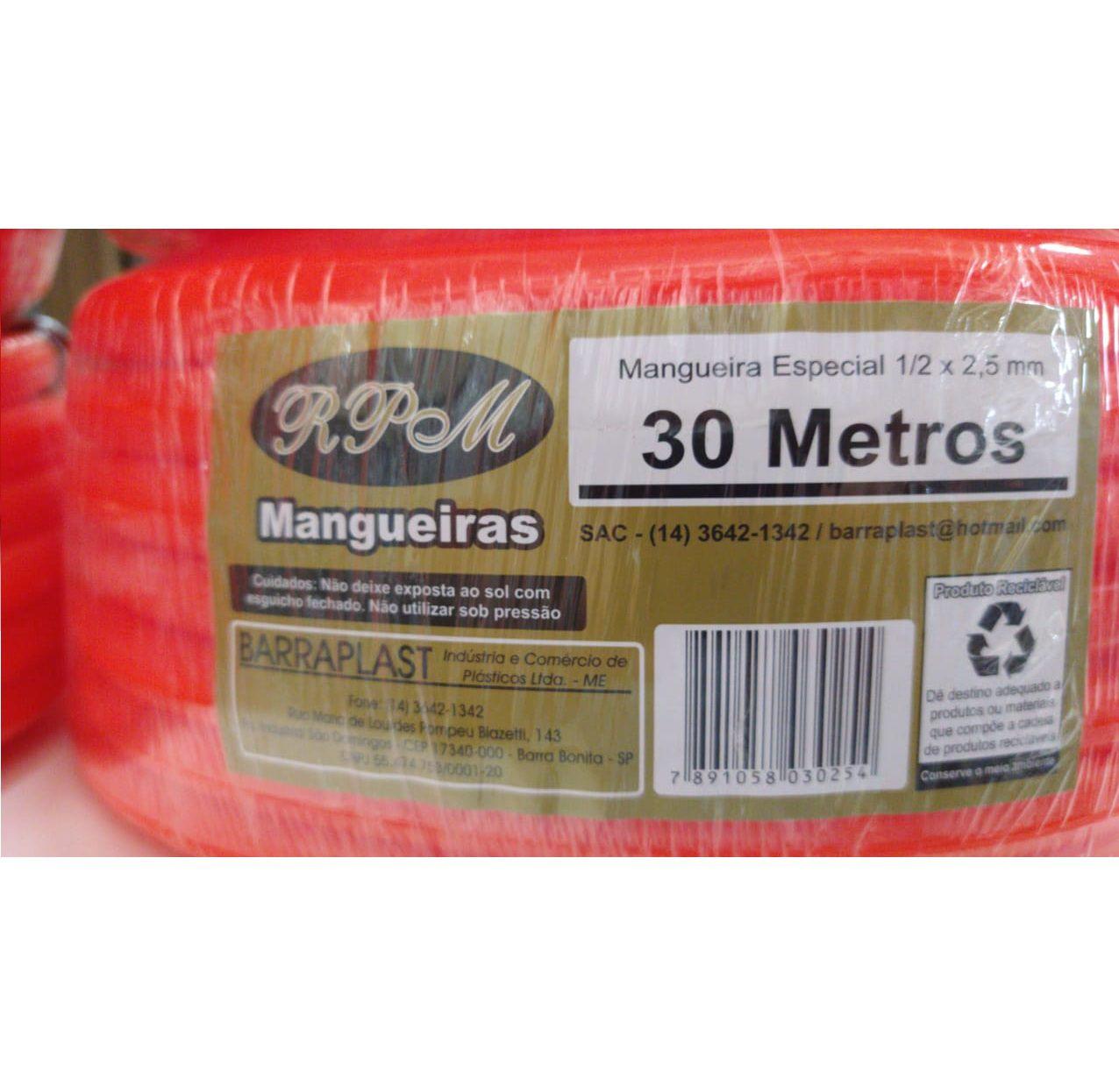 MANGUEIRA SILICONE LARANJA 30METR 1/2X2,5MM