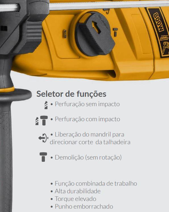 Martelete Combinado 800w Profissional Industrial INGCO 110v