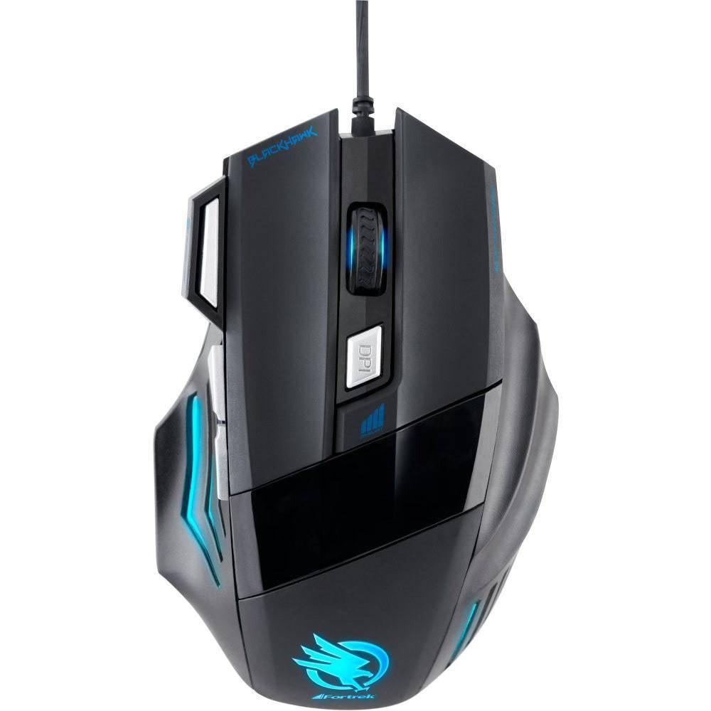 Mouse Gamer Fortrek Óptico 2400 Dpi Usb Black Hawk Om703 Preto