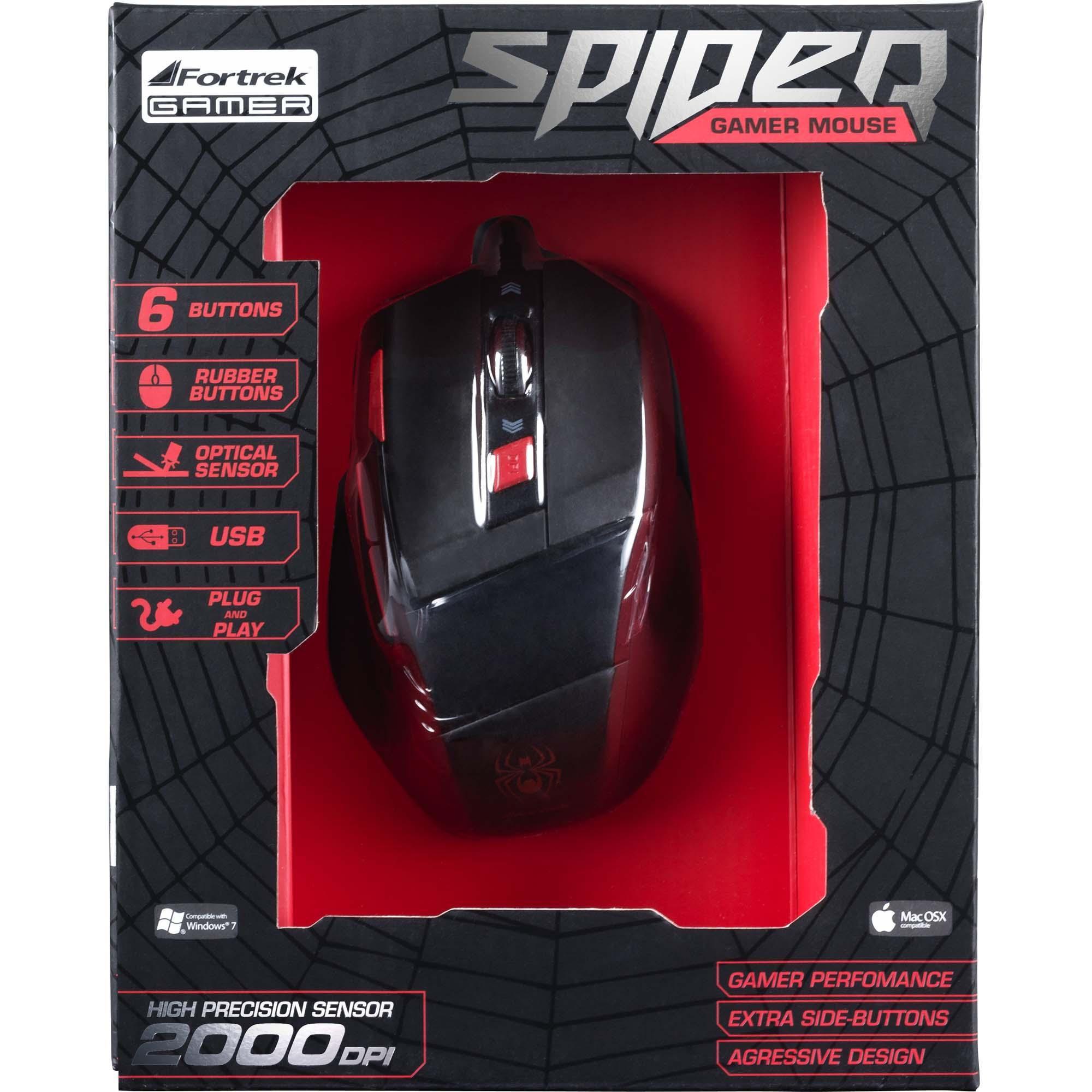 Mouse Gamer Spider Om-701 Preto / Vermelho Fortrek