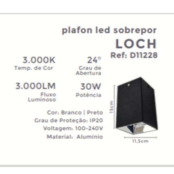 Plafon Led Sobrepor Quadrado Loch 30w 3000k Luz Amarela Pt D11228 Mbdecor