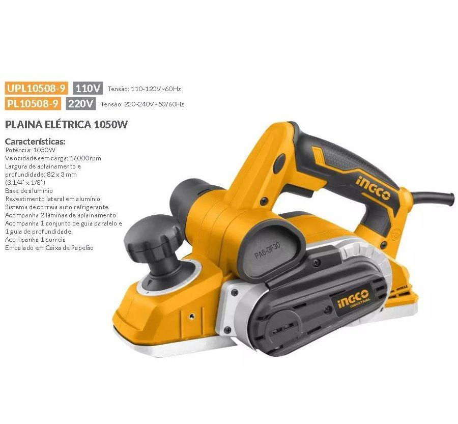 Plaina Elétrica  1050w Profissional Industrial INGCO 110v