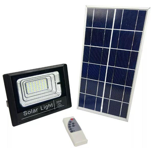 Refletor Holofote Solar Led 25w Real Placa Completo C/ Bateria JD-8825