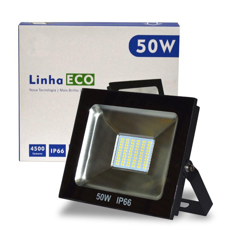 Refletor LED SMD ECO 50W Branco Frio 6500K UPLED