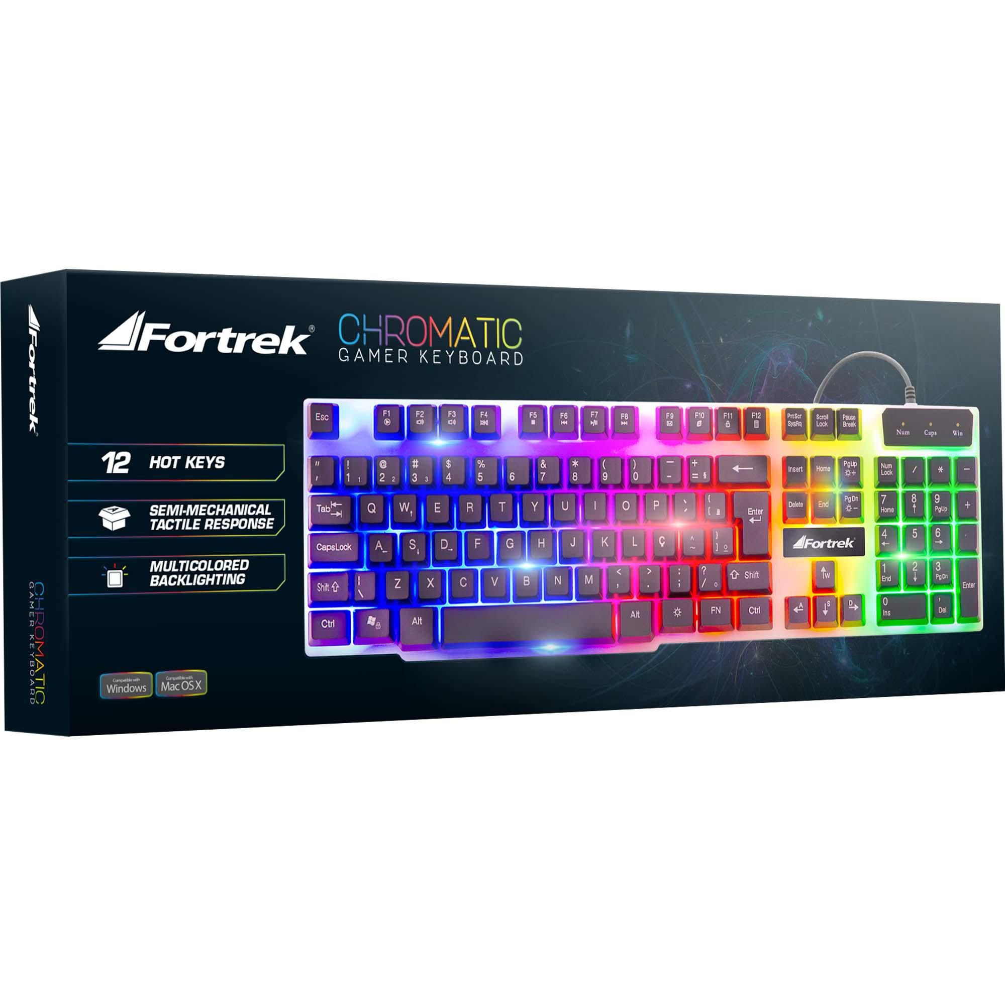 Teclado Gamer Multimídia Chromatic Gk-710 Preto Led Colorido Fortrek