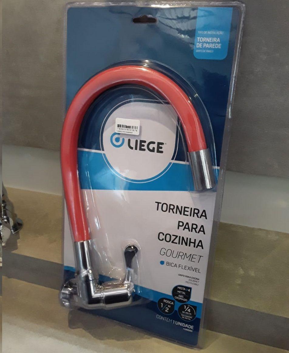 Torneira Gourmet Para Cozinha Tipo Parede Bica Flexivel C98 Liege - Vermelho