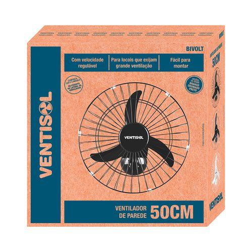 Ventilador de Parede 50cm Premium Ventisol Preto - BIVOLT