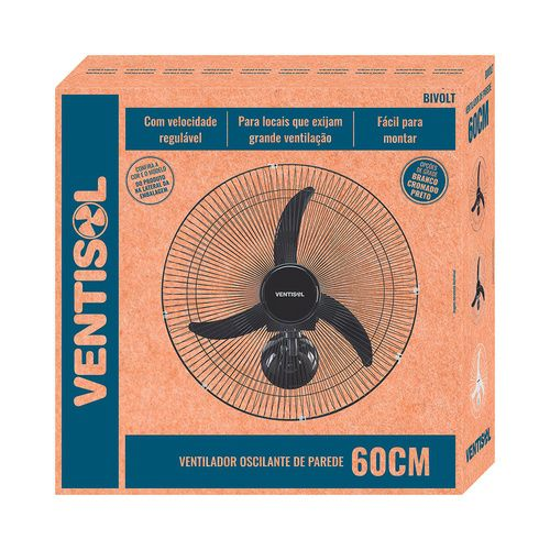 Ventilador de Parede 60cm Premium Ventisol 200W Preto - BIVOLT