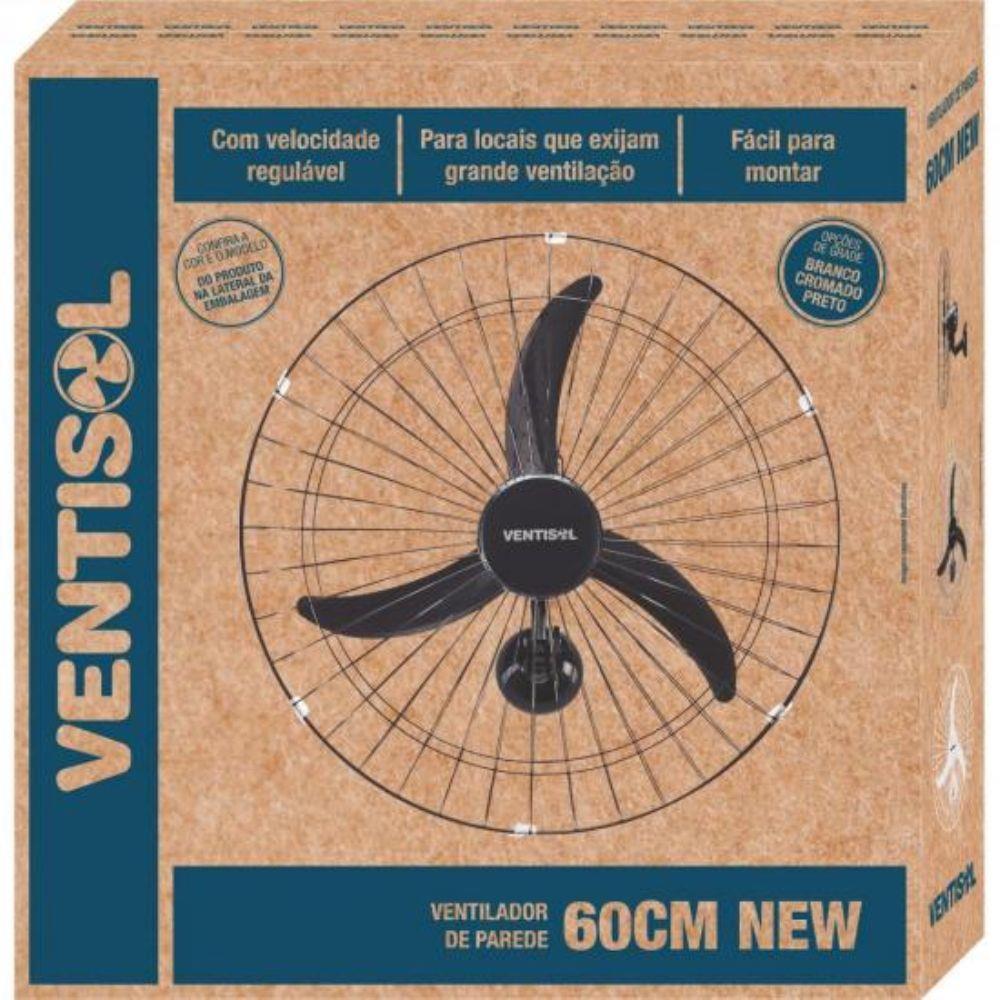 Ventilador De Parede Oscilante 60Cm New Preto Ventisol - 110V