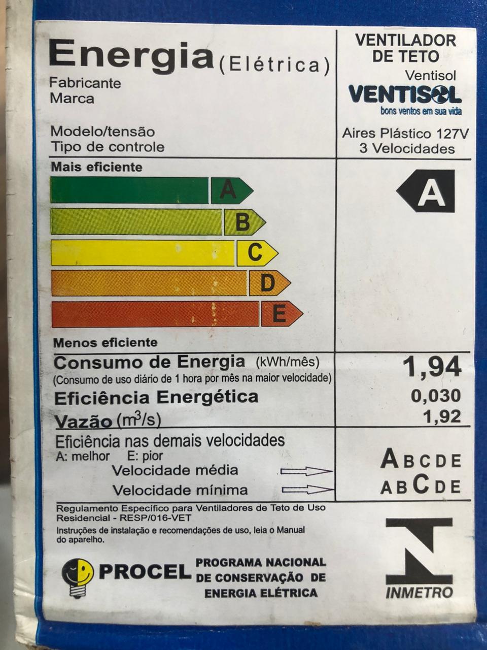 Ventilador de Teto Aires Branco Led Ventisol - 127V