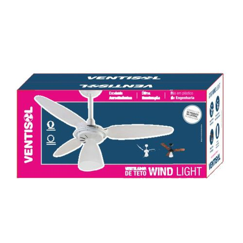 Ventilador de Teto Ventisol Wind Light Mogno 3 Vel. Econômico - 110V