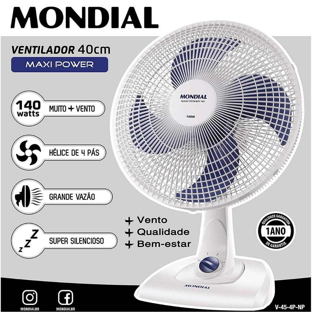 VENTILADOR MESA MAXI POWER 40CM V-45-4P-NP 140W 110V MONDIAL