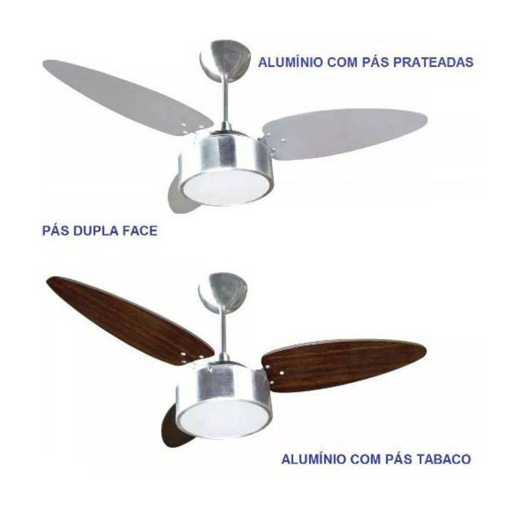 Ventilador Teto Fharo Tabaco e Alumínio Premium Ventisol 127V
