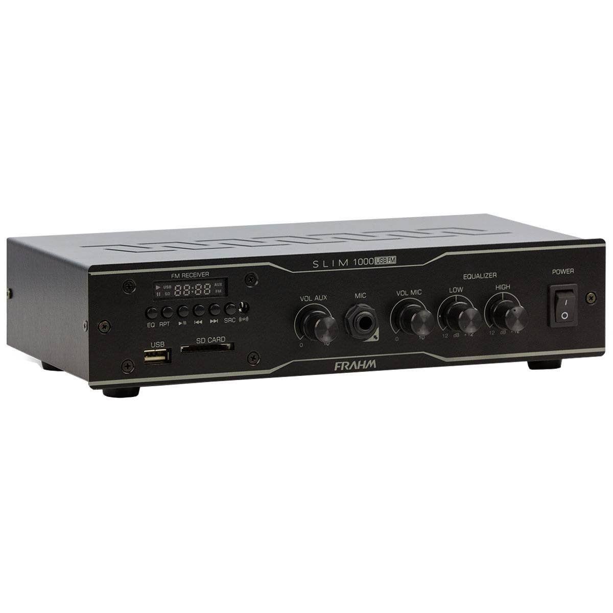 AMPLIF DE POTENCIA RECEIVER 60W RMS SLIM1000 USB FM FRAHM