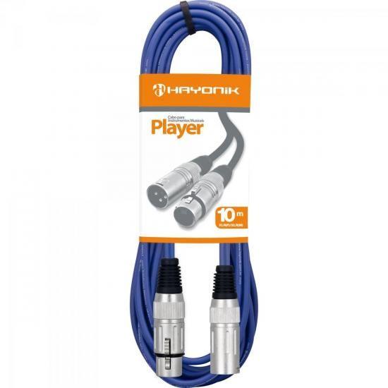 Cabo para Microfone XLR(F) X XLR(M) 10m PLAYER Azul HAYONIK  54407