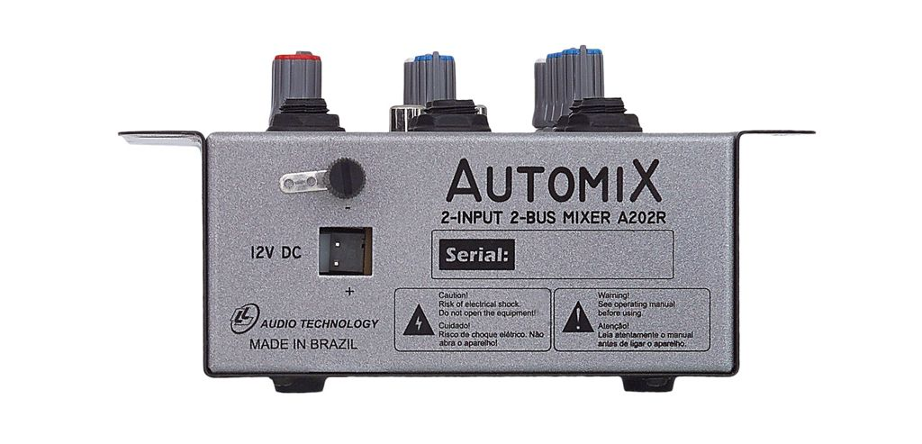 MESA DE SOM 2 CANAIS 12V S/ USB AUTOMIX A202R