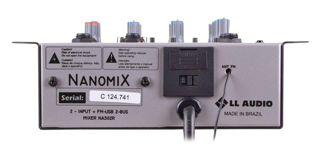 MESA DE SOM 2 CANAIS USB NA302NT NANOMIX
