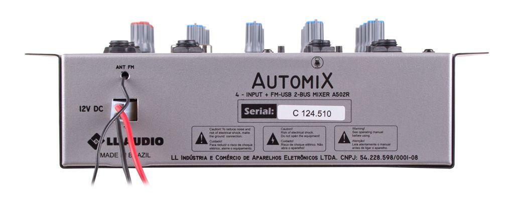 MESA DE SOM 4 CANAIS C/ USB A502R BT AUTOMIX