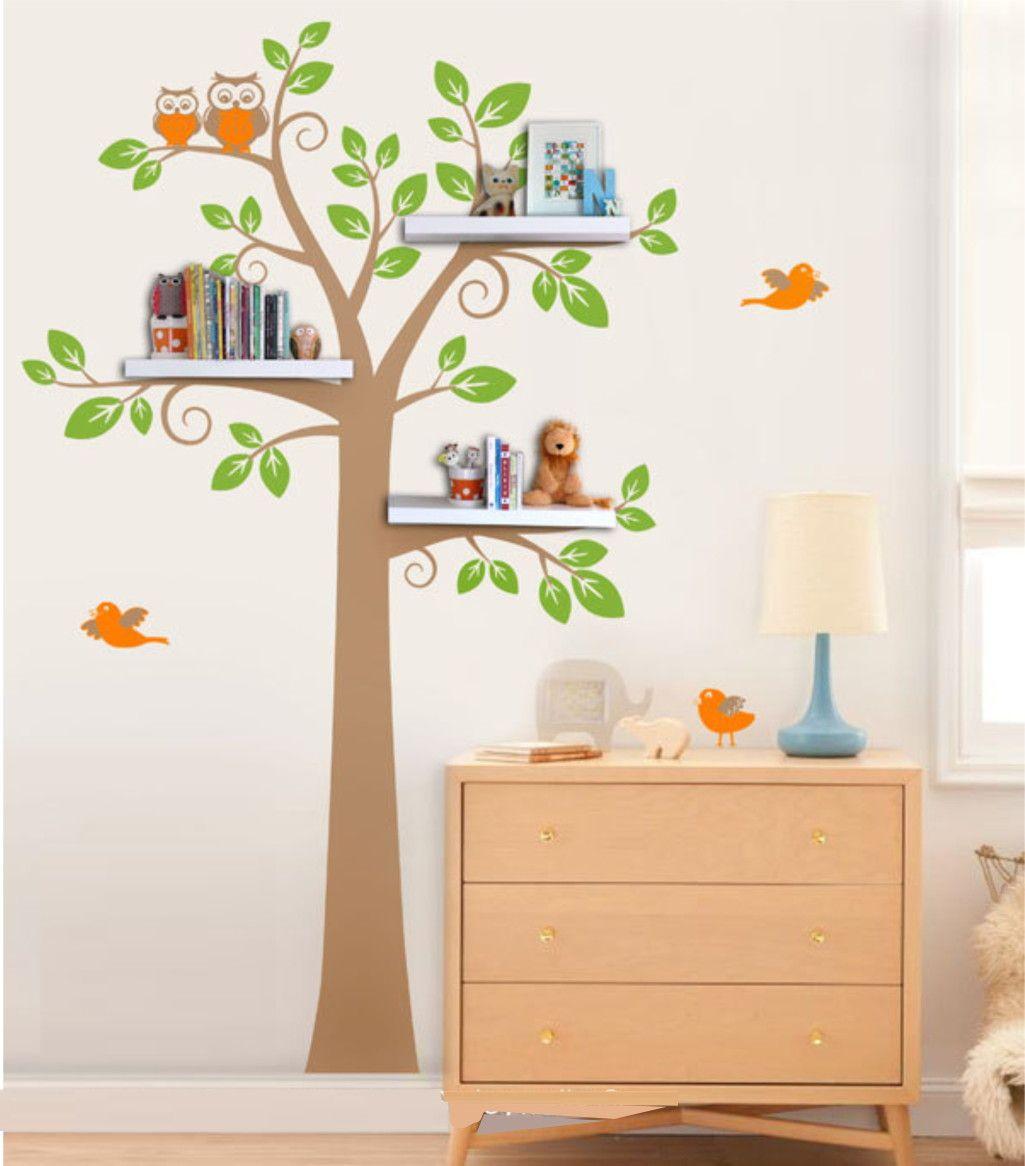 Adesivo de Parede Árvore com Corujas e Pássaros 33D73D
