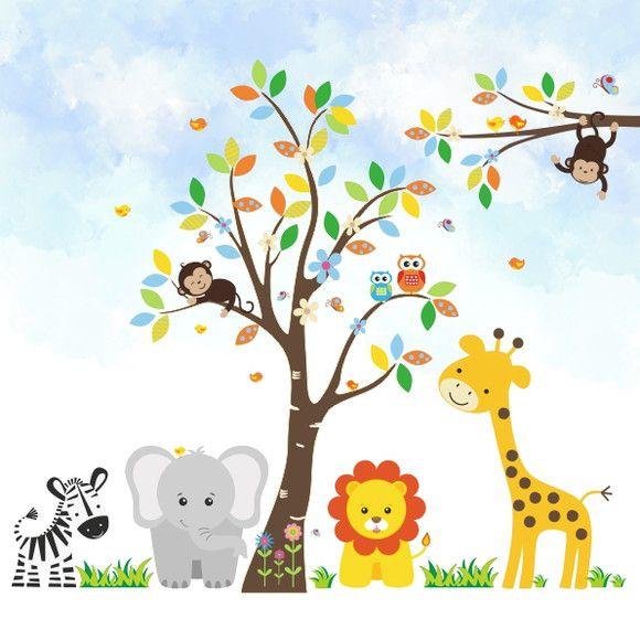Papel de Parede Árvore Animais Safari 10D565F
