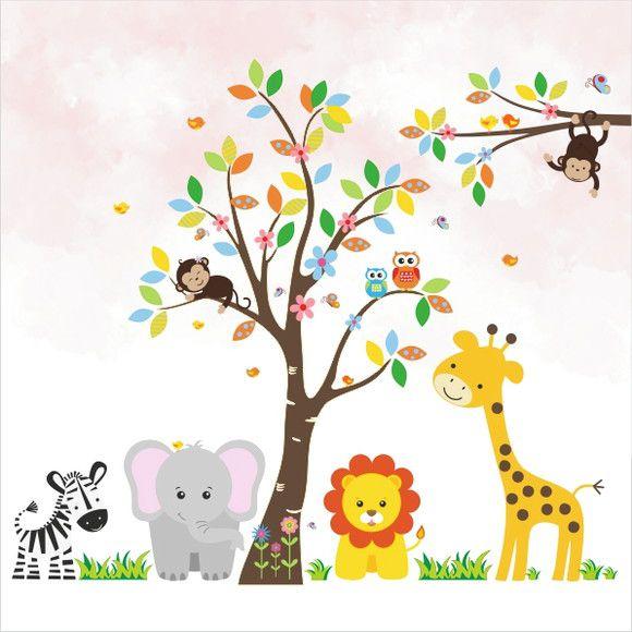 Mural de Parede Árvore Animais Safari 10D565F