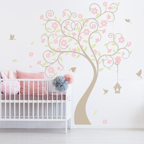 Adesivo de Parede Árvore com Flores e Pássaros D7B609