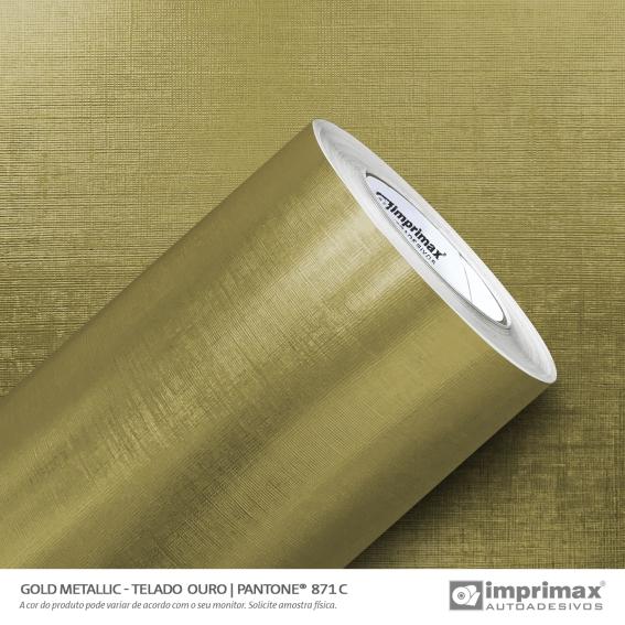 Adesivo Imprimax Gold Metallic Texturizados Artístico, Telado ou Escovado