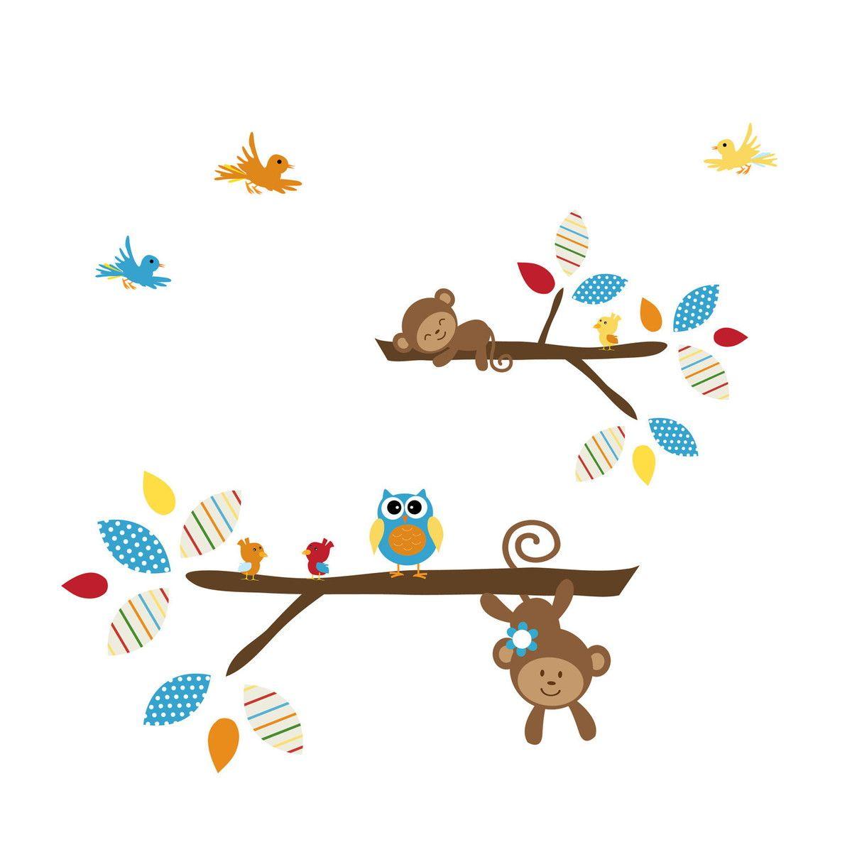 Adesivo de Parede Galho com Coruja, Pássaros e Macaquinhos 35646B