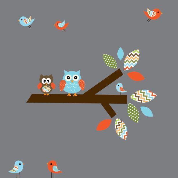 Adesivo de Parede Galho com Corujas e Pássaros 3561E8