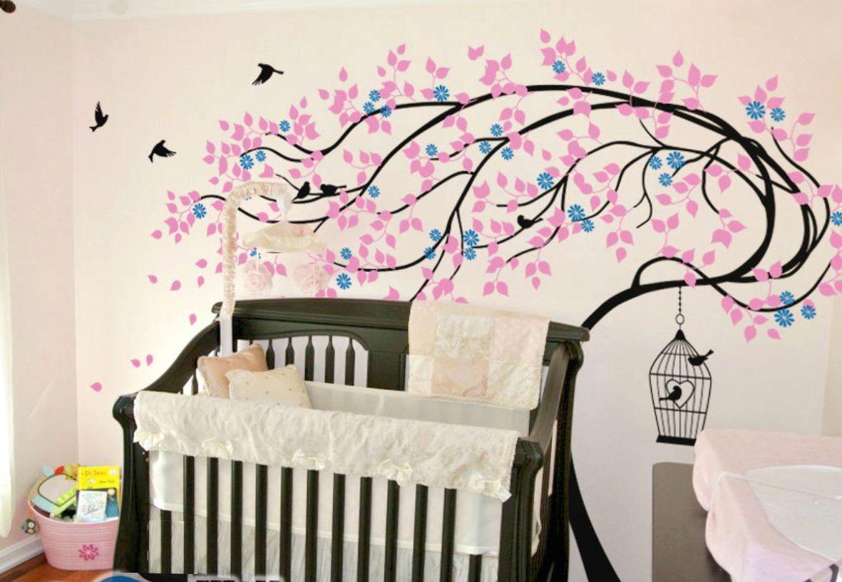Adesivo de Parede Árvore ao Vento com Gaiola e Pássaros 35F713