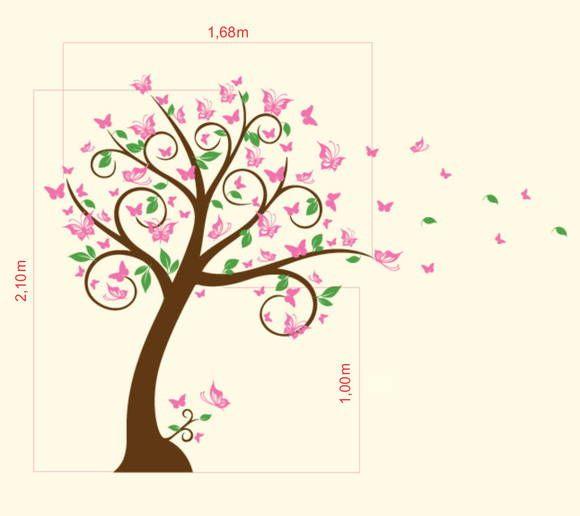 Adesivo de Parede Árvore com Borboletas 350E67